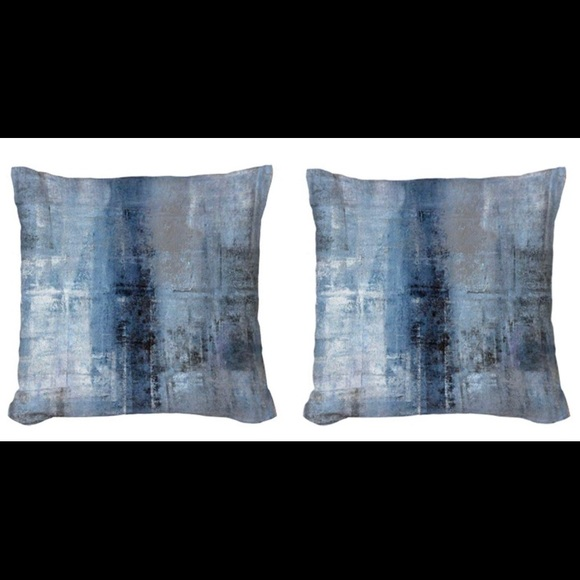Blue and Grey Abstract Throw Pillow Cushion Covers